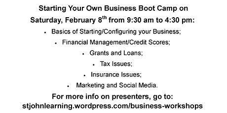 Starting Your Own Business Boot Camp tickets