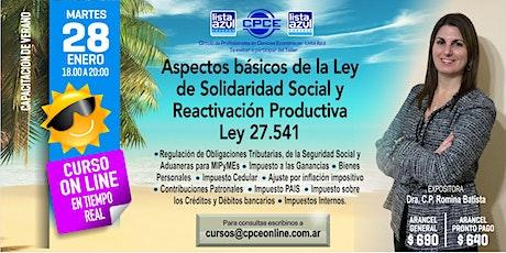 Curso Online - Aspectos Básicos de la Ley de Solidaridad Social y Reactivación Productiva - LEY 27.541 entradas