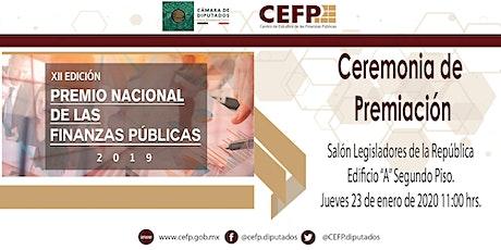 Ceremonia del Premio Nacional de las Finanzas Públicas 2019 boletos