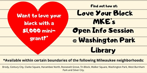 Love Your Block MKE Mini-Grant Open Info Session