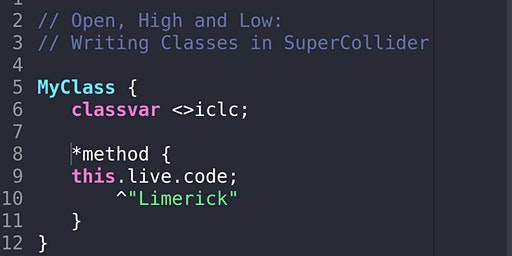 Open, high and low: writing classes in SuperCollider.