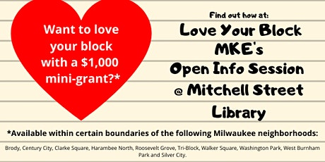 Love Your Block MKE Mini-Grant Open Info Session tickets