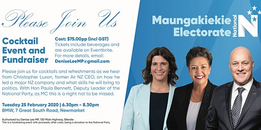 Cocktail Evening with Hon Paula Bennett and Christopher Luxon