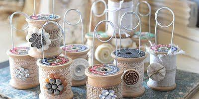 Wooden Spool Picture Holder Craft