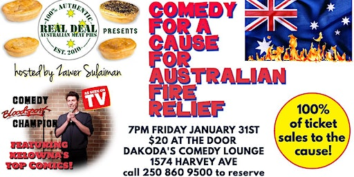 Real Deal Australian Meat Pies presents Comedy for Australian Fire Relief