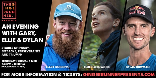 Ginger Runner Presents: An evening with Gary Robbins, Ellie Greenwood & Dylan Bowman