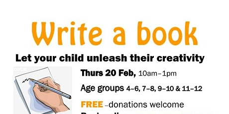 """Write a book event-""""unleash your child's creativity"""" tickets"""