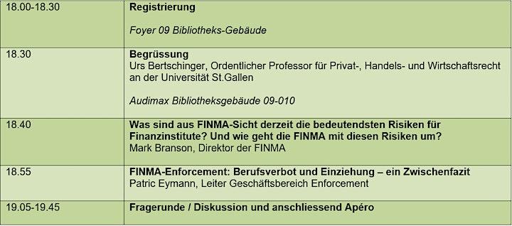 Öffentliche Veranstaltung: die FINMA zu Gast in St. Gallen: Bild