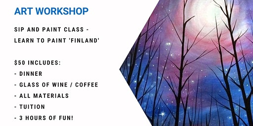 Grab a glass of wine and learn to paint 'Finland'