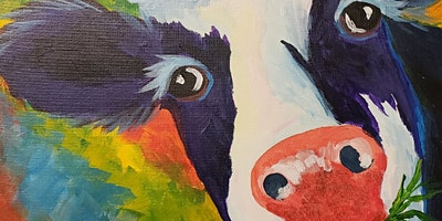 Colorful Cow Paint Party at Brush & Cork
