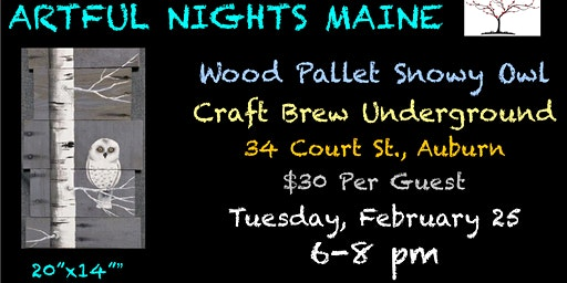 Wood Pallet Snowy Owl at Craft Brew Underground, Auburn