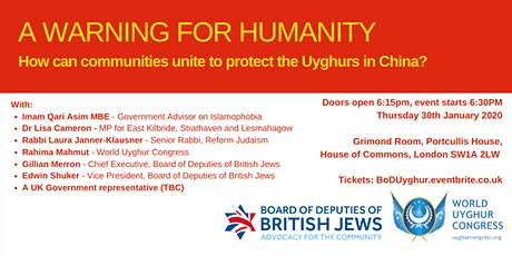 A WARNING FOR HUMANITY: How can communities unite to protect the Uyghurs? tickets