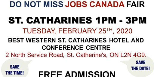 St. Catharines Job Fair – February 25th, 2020
