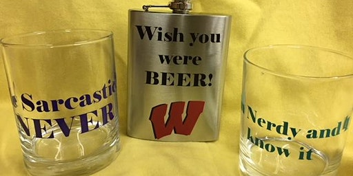 Make a beautiful Valentines Day Gift!  Customized flask & rocks glasses