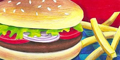 Kids & Grown-Ups Hamburger & Fries Paint Party at Brush & Cork