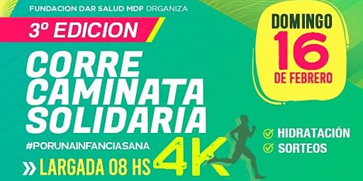 Corre caminata solidaria 4k de Fundación dar salud, tercera edición.