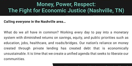 Nashville, TN. Money, Power, Respect: The Fight for Economic Justice (free) tickets