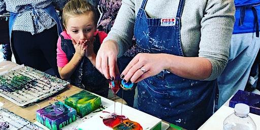 Parent & Child Liquid Glass; A Pouring Medium Workshop - Tett