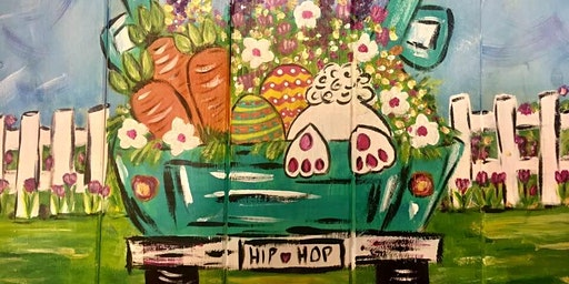 Pizza n Paint - Bunny n Truck on WOOD Palette
