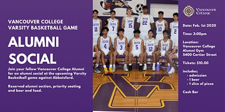 Alumni Social ~ Vancouver College Varsity Basketball Game vs Abbotsford tickets