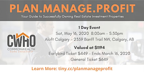 PLAN.MANAGE.PROFIT. Your Guide to Successfully Owning Real Estate Investment Properties tickets