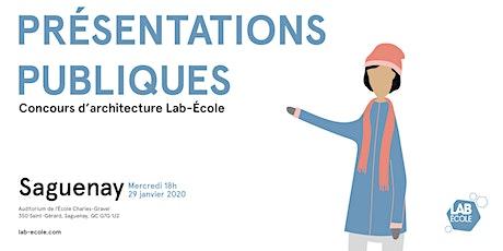 Présentation publique du concours d'architecture - Lab-École Saguenay billets