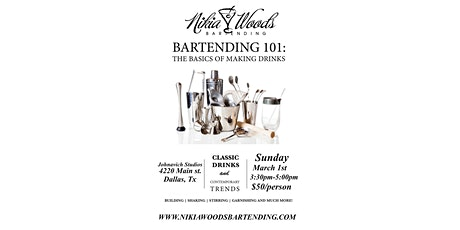 Bartending 101- Learn the basics of making cocktails tickets