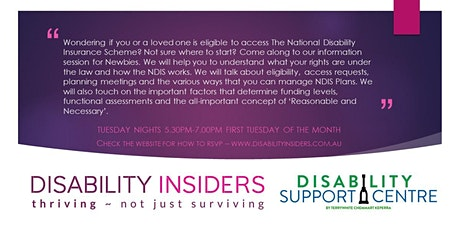 Disability Insiders' NDIS for Newbies delivered via Zoom tickets