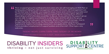 Disability Insiders' NDIS for Self-Managers - a support group tickets