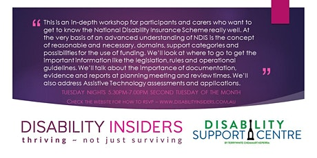Disability Insiders' NDIS for Advanced Users tickets