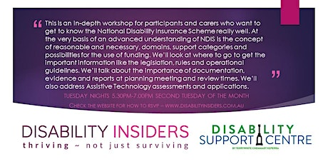 Disability Insiders' NDIS for Advanced Users - Preparing for Reviews tickets