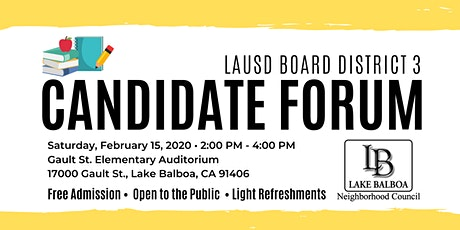 LAUSD Board District 3 Candidate Forum tickets