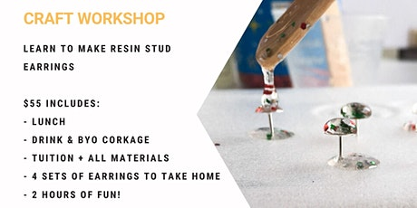 Grab a glass of wine and learn to make Resin Studs! tickets