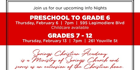 Info Nights at Springs Christian Academy, Winnipeg tickets