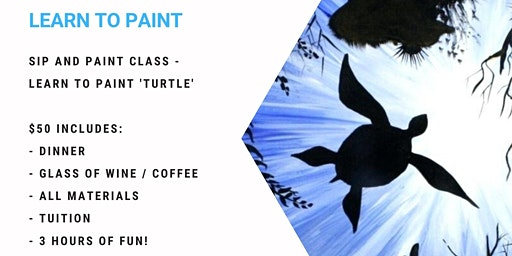 Grab a glass of win and learn to paint 'Turtle'!