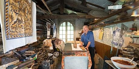 Laboratorio di stampe a ruggine romagnole con Egidio Miserocchi biglietti