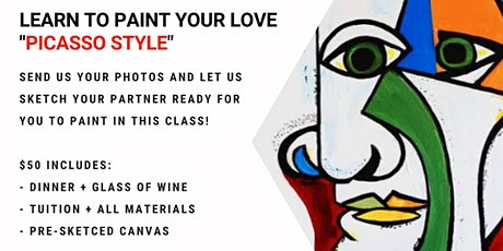 Sip and Paint - Create a personalised Valentines canvas tickets