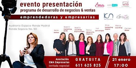 Presentación Programa de Desarrollo de Negocio y Ventas para Mujeres entradas