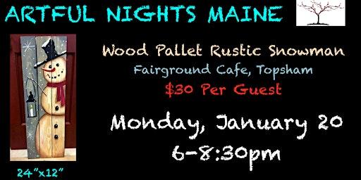 Wood Pallet Rustic Snowman at Fairground Cafe