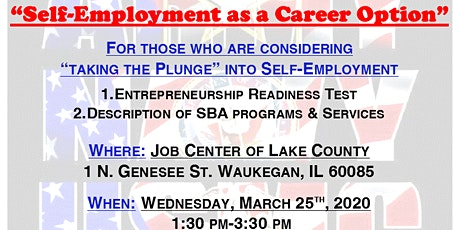 """""""Self-Employment as a Career Option"""" with The Small Business Administration tickets"""