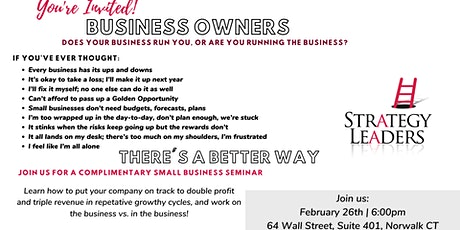 Is Your Business Running You or Are You Running the Business? tickets
