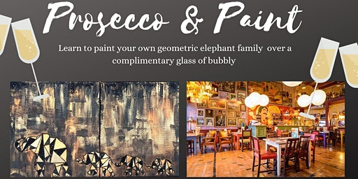 Prosecco and Paint- Paint your own Geometric, Glittery, Elephant Family