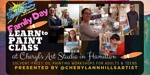 Family Day Oil Painting Workshop at Cheryl's Art Studio