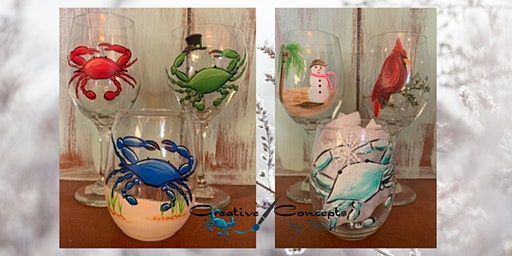 Crab and Winter Wine Glass Paint Night