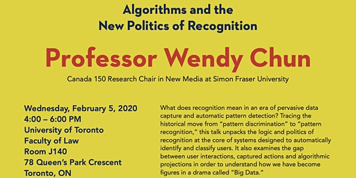 """Wendy Chun: """"Algorithms and the New Politics of Recognition"""""""