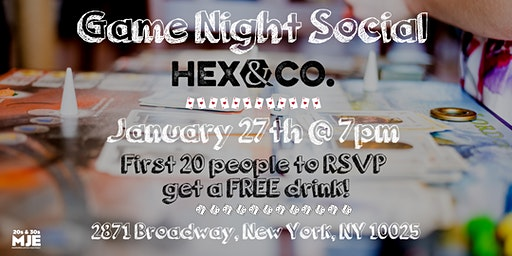 MJE Game Night Social | Free Drink for First 20 RSVP | 20s & 30s
