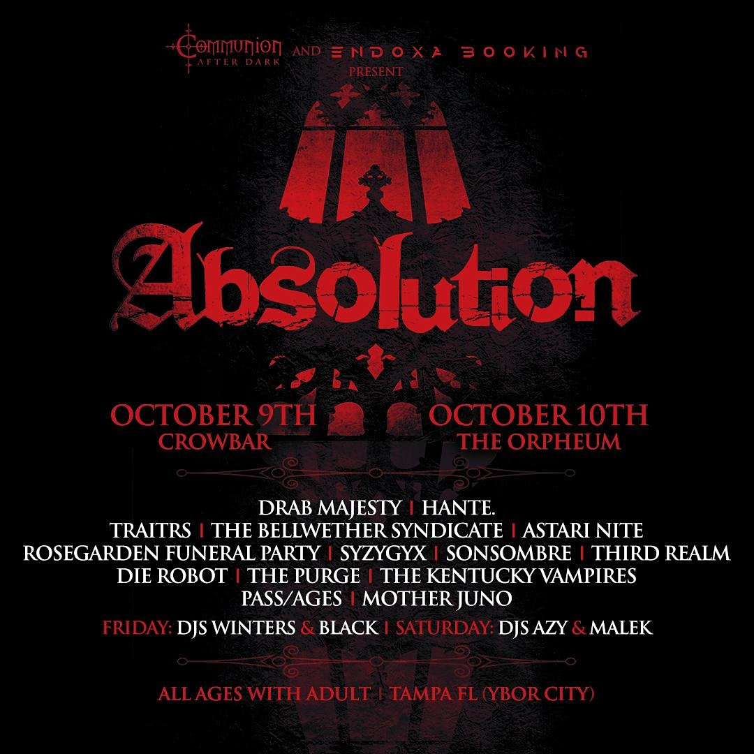 Absolution Fest 2020:  A Post-Punk / Darkwave / Goth music festival across two different venues.
