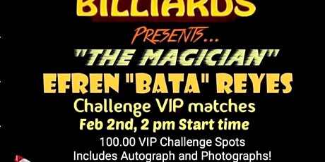 VIP Challenge With The Magician, Efren Reyes tickets