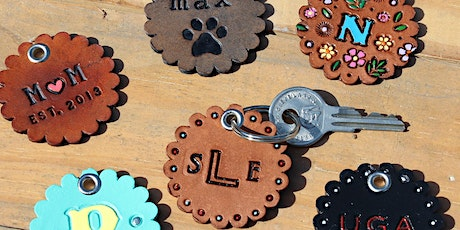 DIY Leathercraft Class - TWO personalized key chains tickets