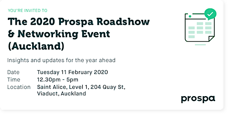 The 2020 Prospa Roadshow  & Networking Event (Auckland) tickets
